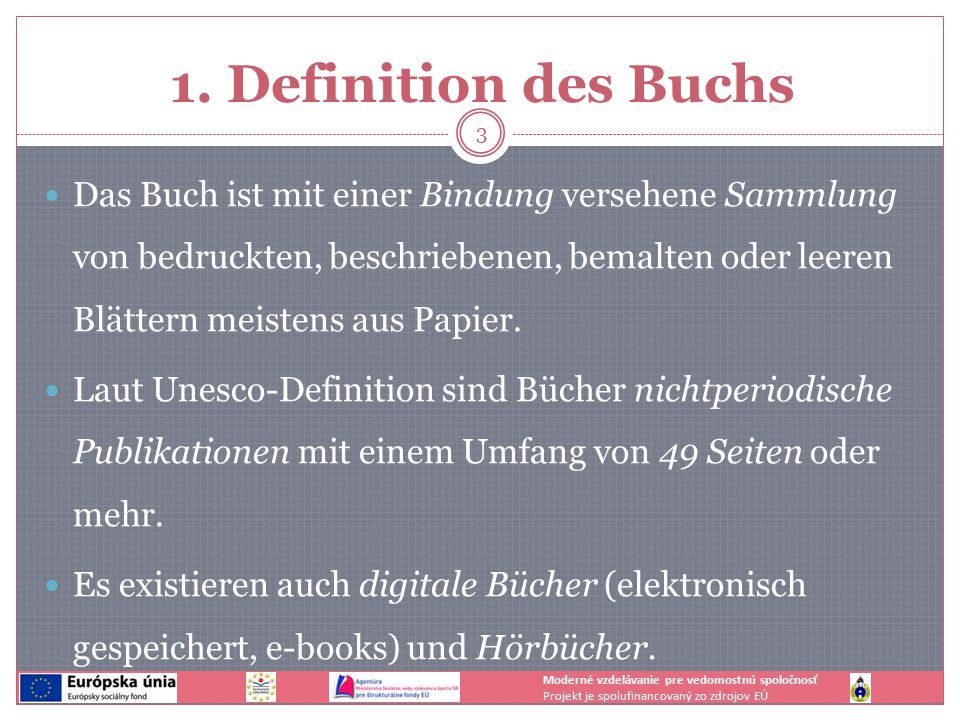 1. Definition des Buchs