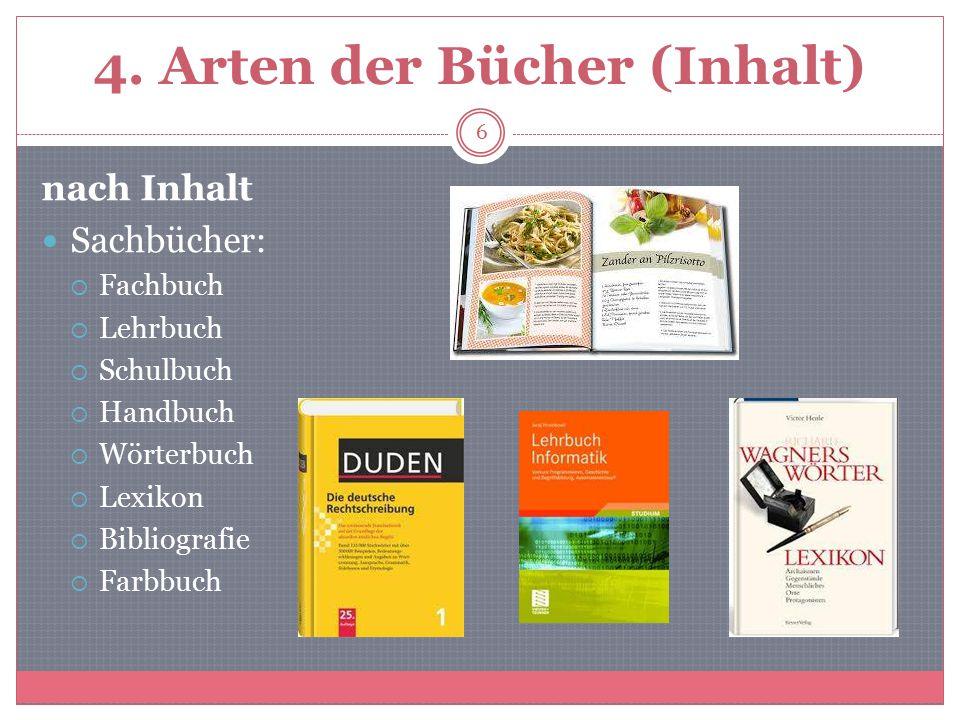 4. Arten der Bücher (Inhalt)