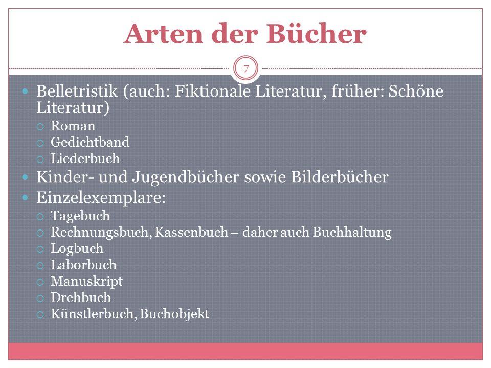 Arten der Bücher Belletristik (auch: Fiktionale Literatur, früher: Schöne Literatur) Roman. Gedichtband.