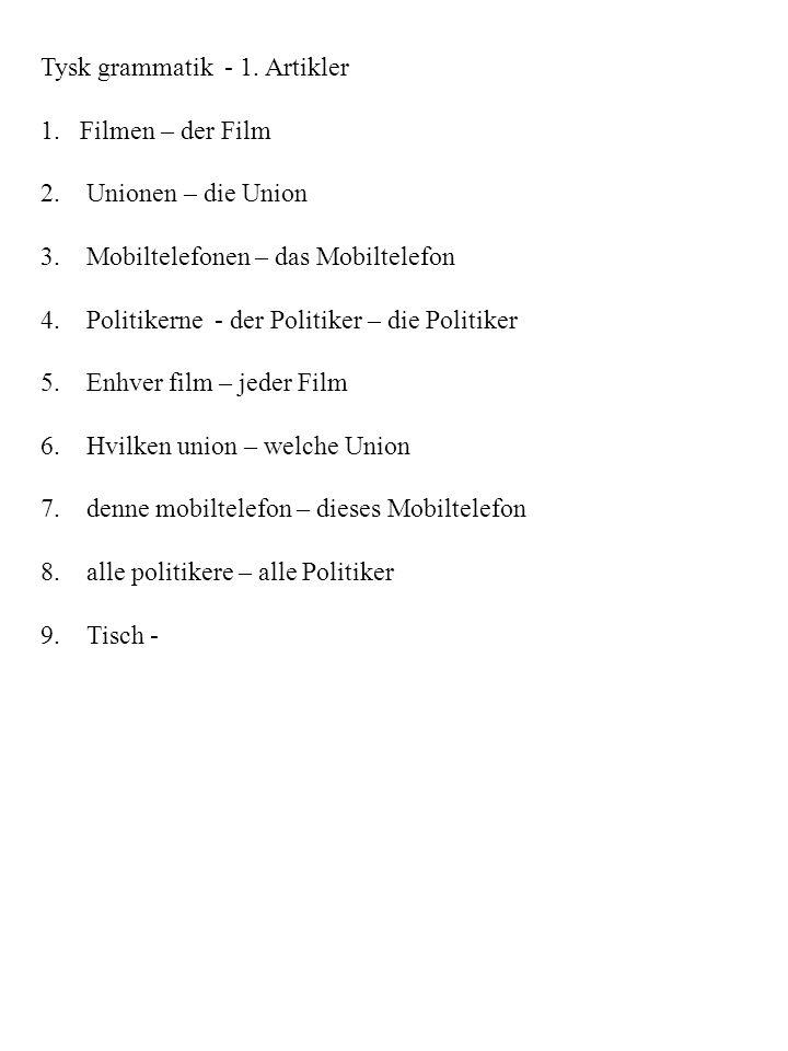 Tysk grammatik - 1. Artikler