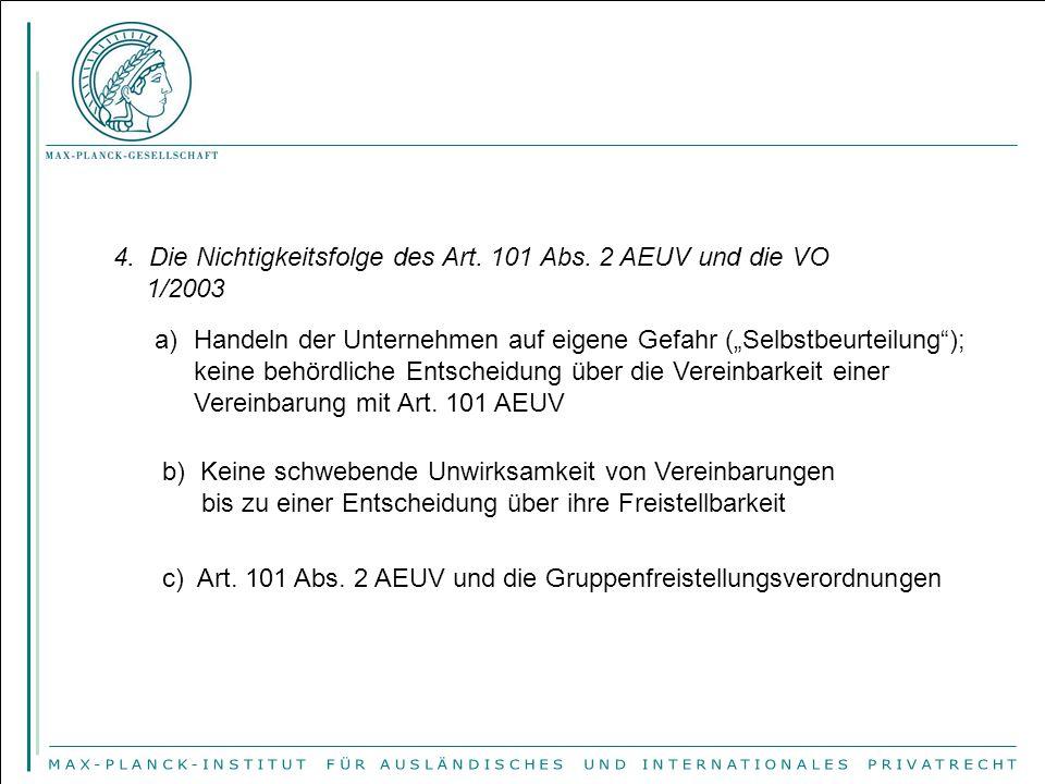 4. Die Nichtigkeitsfolge des Art. 101 Abs. 2 AEUV und die VO 1/2003