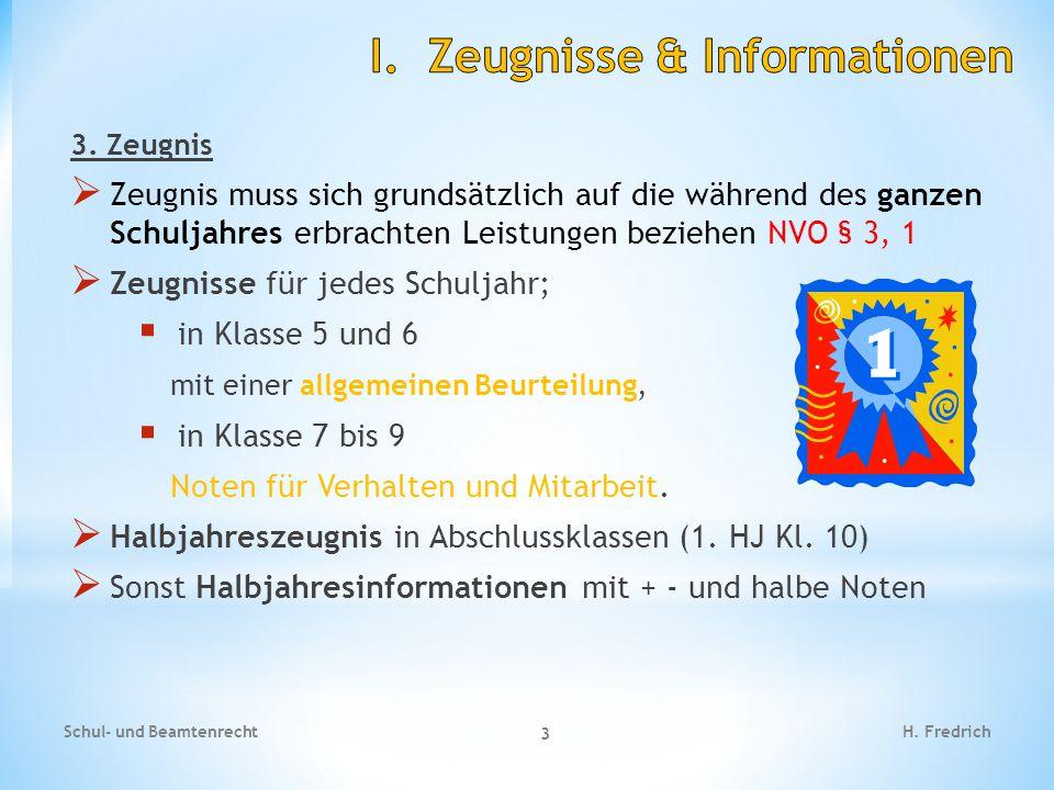 I. Zeugnisse & Informationen