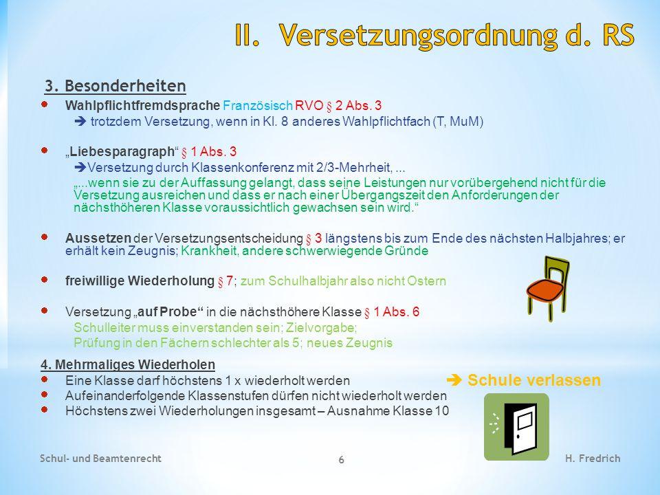 II. Versetzungsordnung d. RS