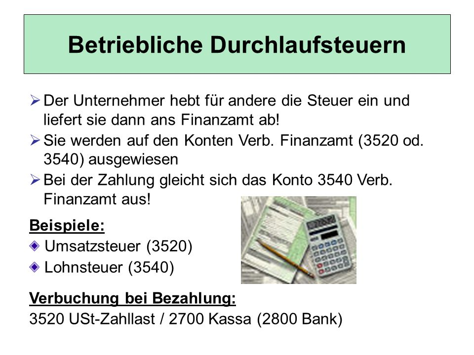 Betriebliche Durchlaufsteuern