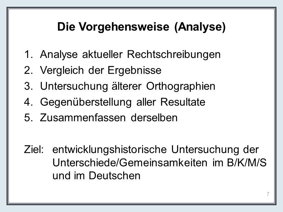 Die Vorgehensweise (Analyse)