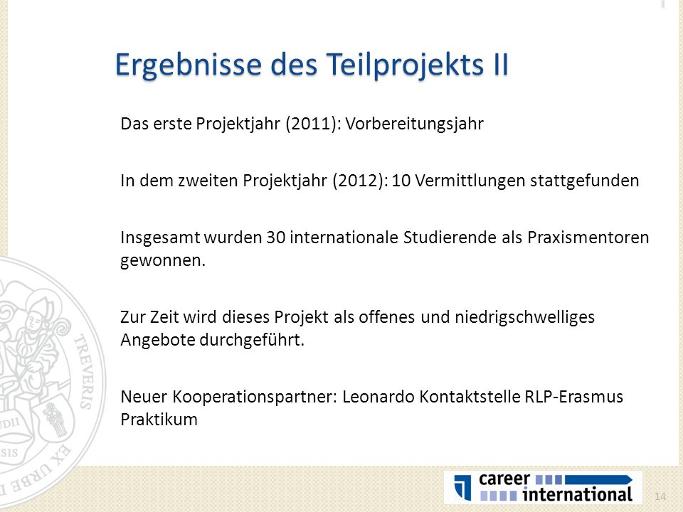Ergebnisse des Teilprojekts II