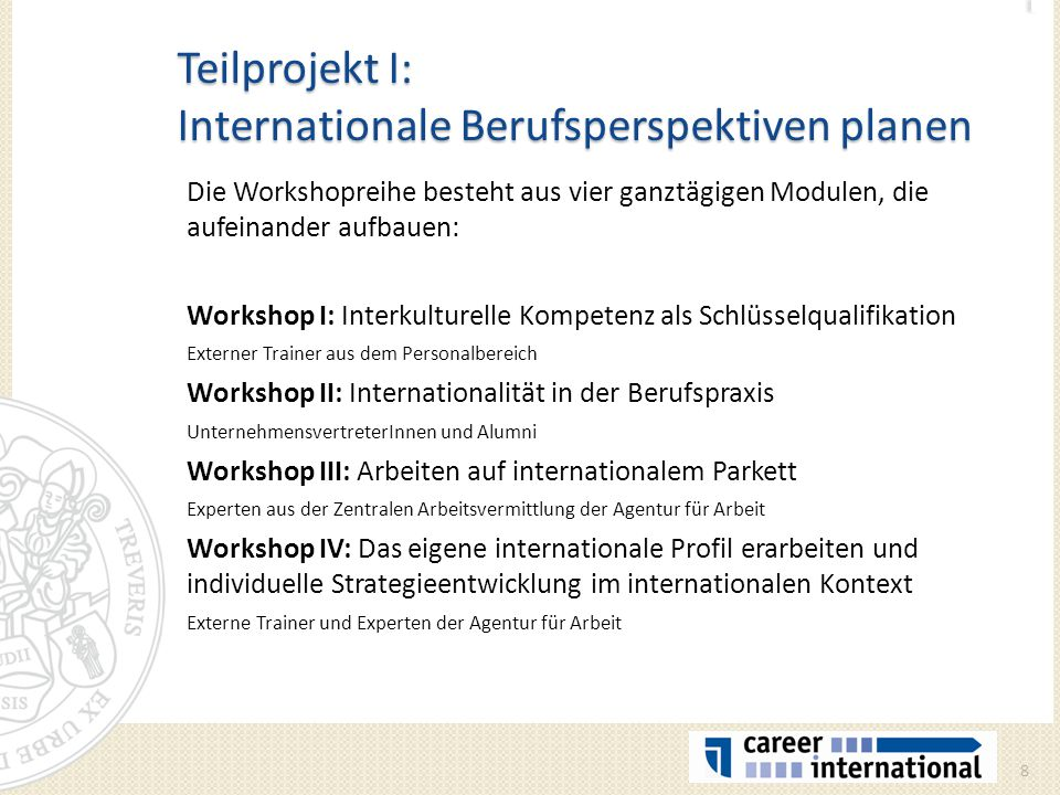 Teilprojekt I: Internationale Berufsperspektiven planen