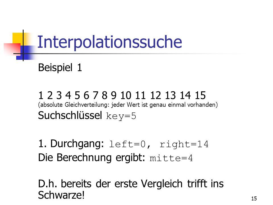 Interpolationssuche Beispiel 1