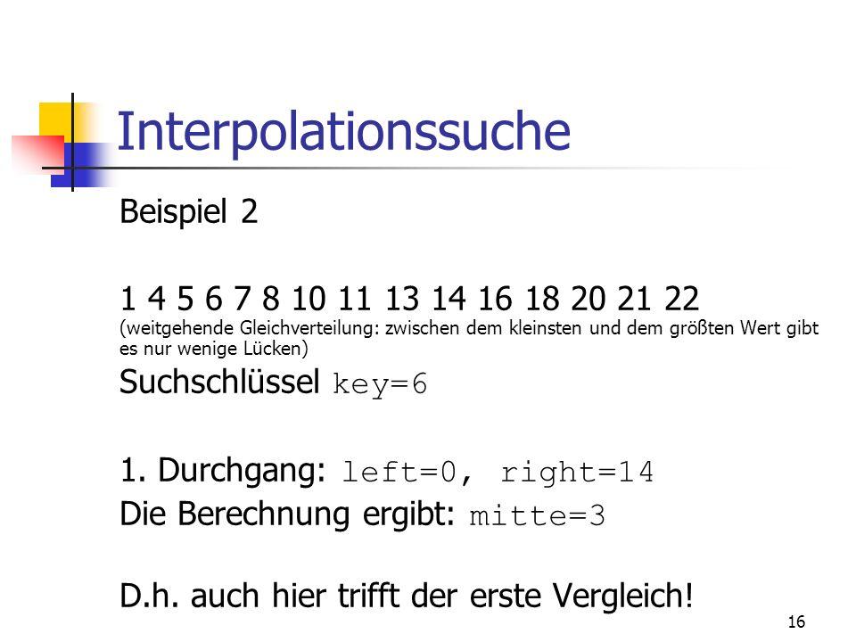 Interpolationssuche Beispiel 2