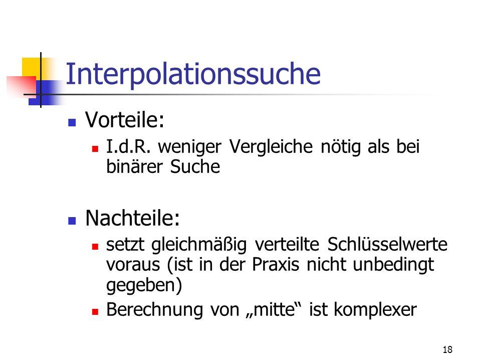 Interpolationssuche Vorteile: Nachteile: