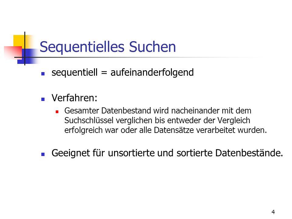 Sequentielles Suchen sequentiell = aufeinanderfolgend Verfahren:
