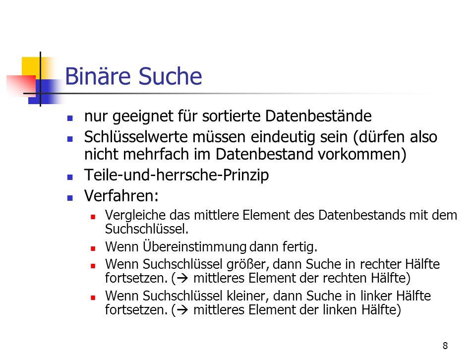 Binäre Suche nur geeignet für sortierte Datenbestände