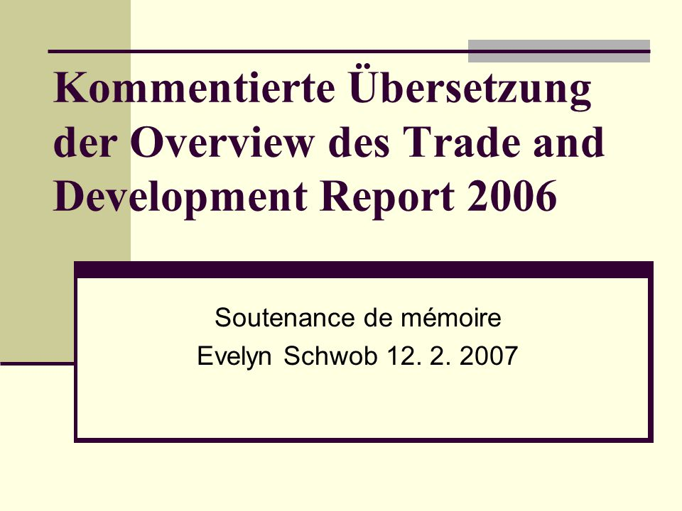 Soutenance de mémoire Evelyn Schwob 12. 2. 2007