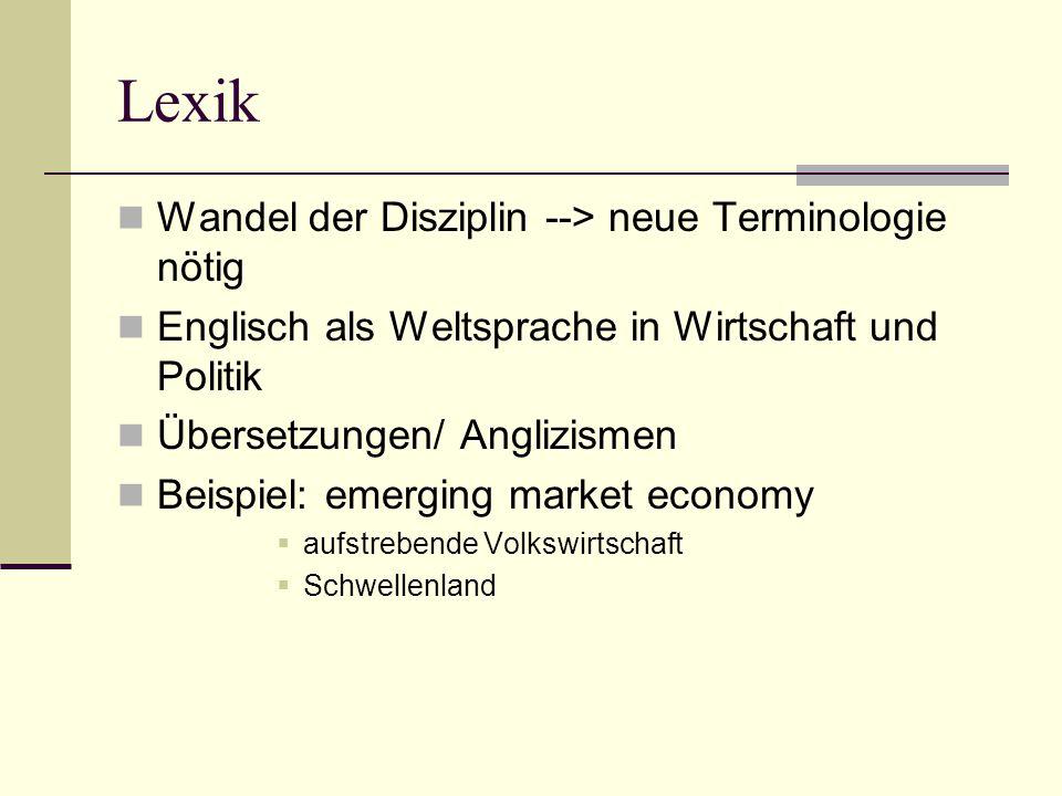 Lexik Wandel der Disziplin --> neue Terminologie nötig