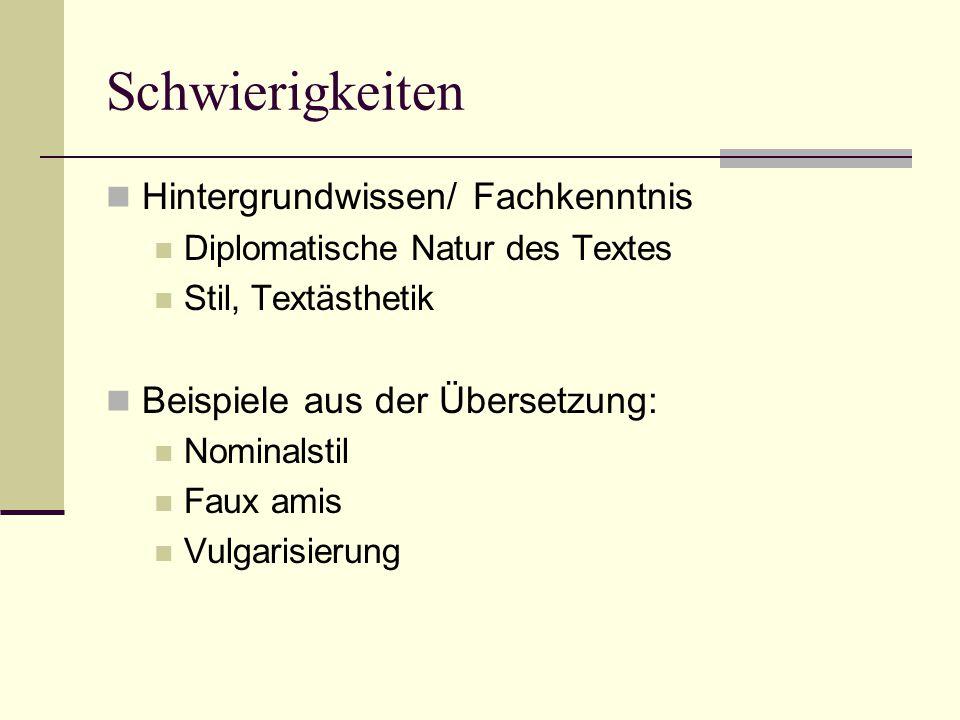 Schwierigkeiten Hintergrundwissen/ Fachkenntnis