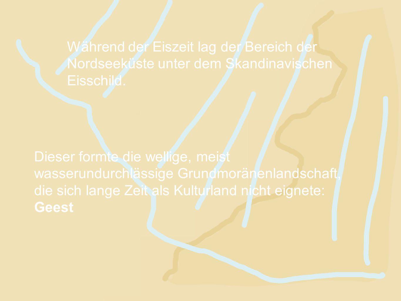 Während der Eiszeit lag der Bereich der Nordseeküste unter dem Skandinavischen Eisschild.