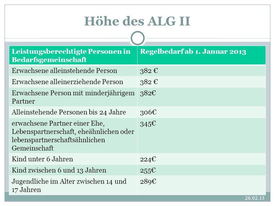 Höhe des ALG II Leistungsberechtigte Personen in Bedarfsgemeinschaft
