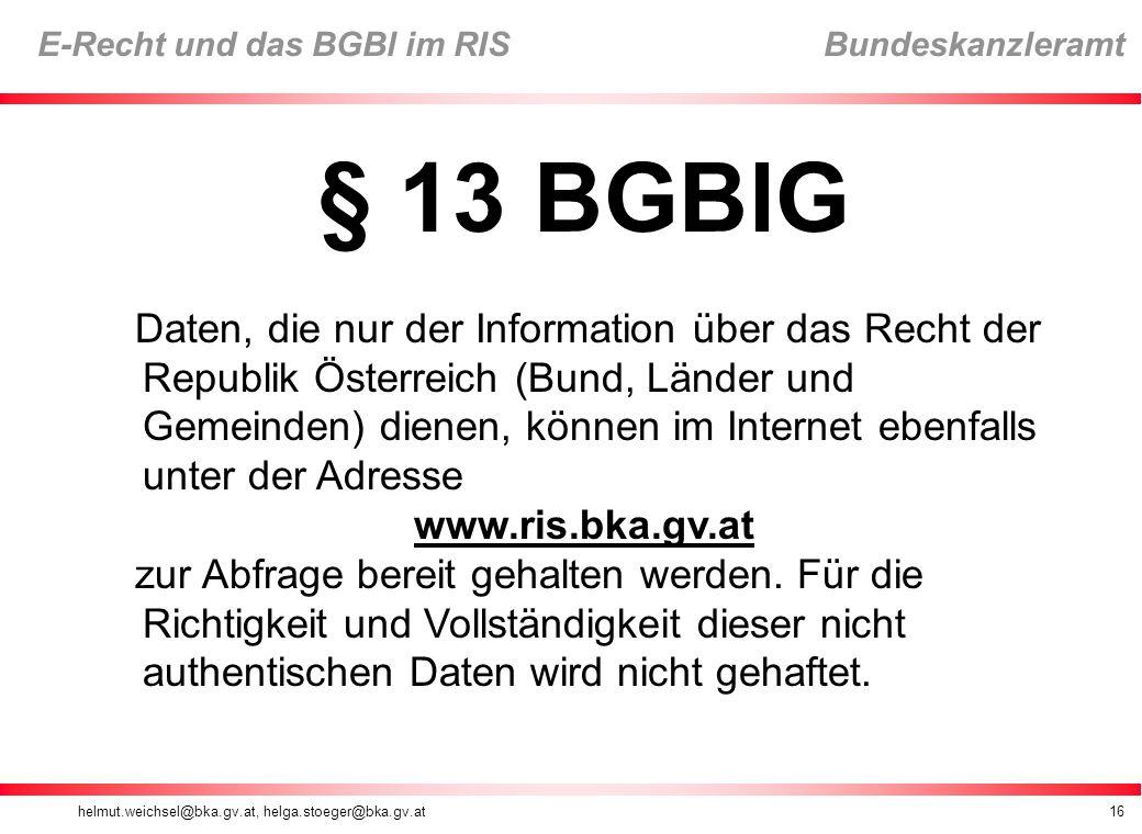 § 13 BGBlG