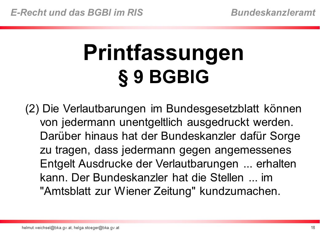 Printfassungen § 9 BGBlG