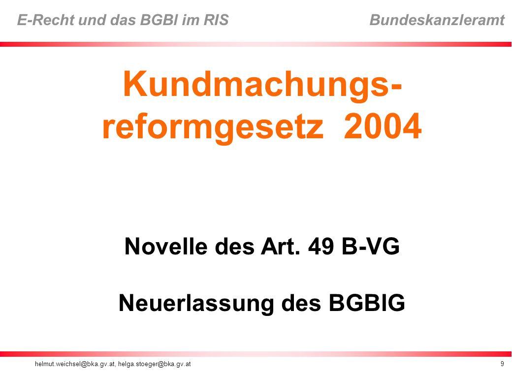 Neuerlassung des BGBlG