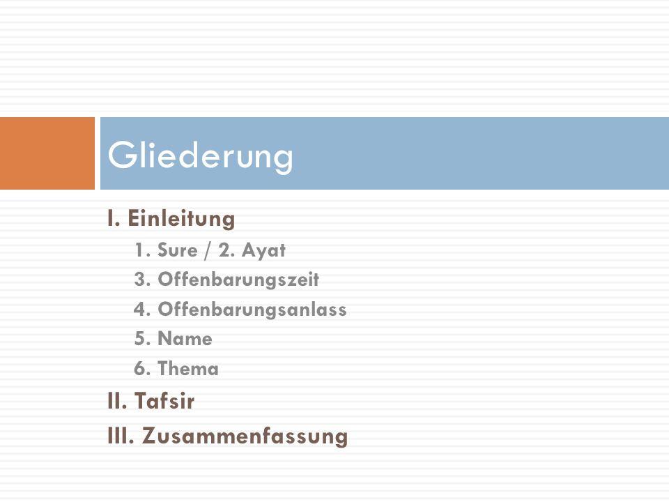 Gliederung I. Einleitung II. Tafsir III. Zusammenfassung