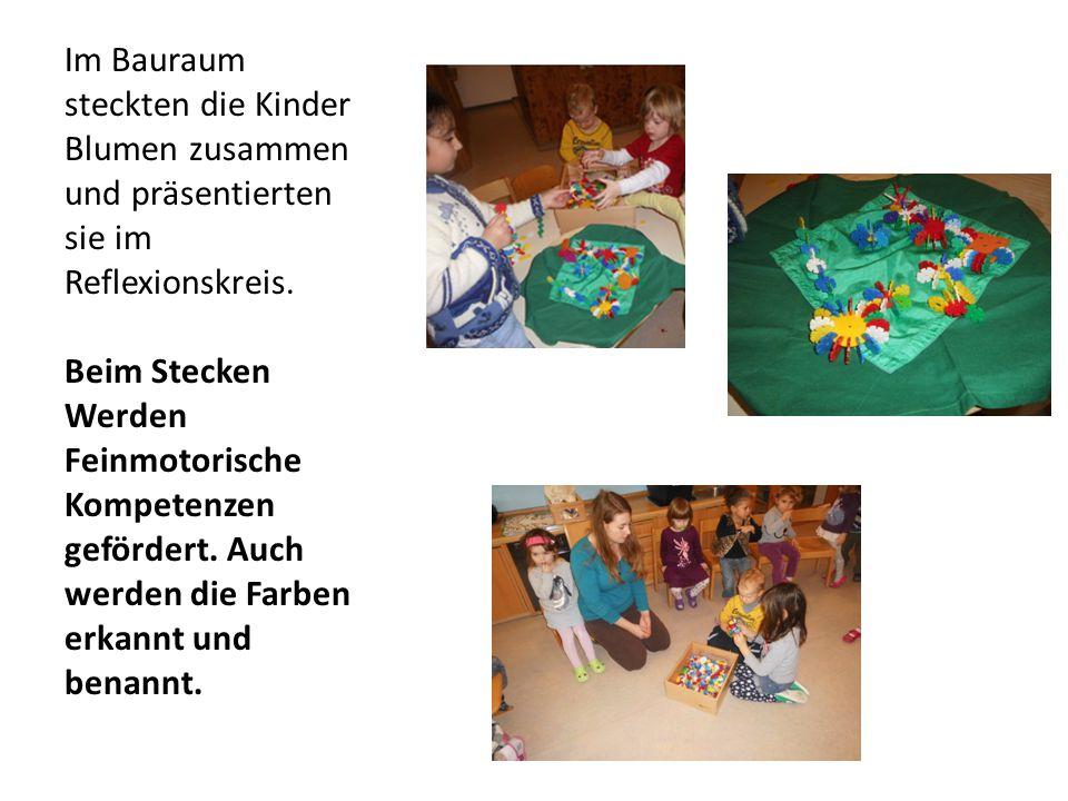Im Bauraum steckten die Kinder Blumen zusammen und präsentierten sie im Reflexionskreis.