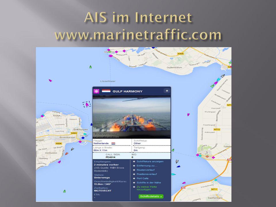 AIS im Internet www.marinetraffic.com