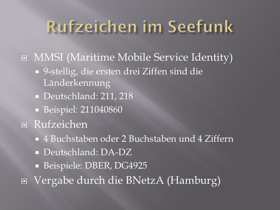 Rufzeichen im Seefunk MMSI (Maritime Mobile Service Identity)