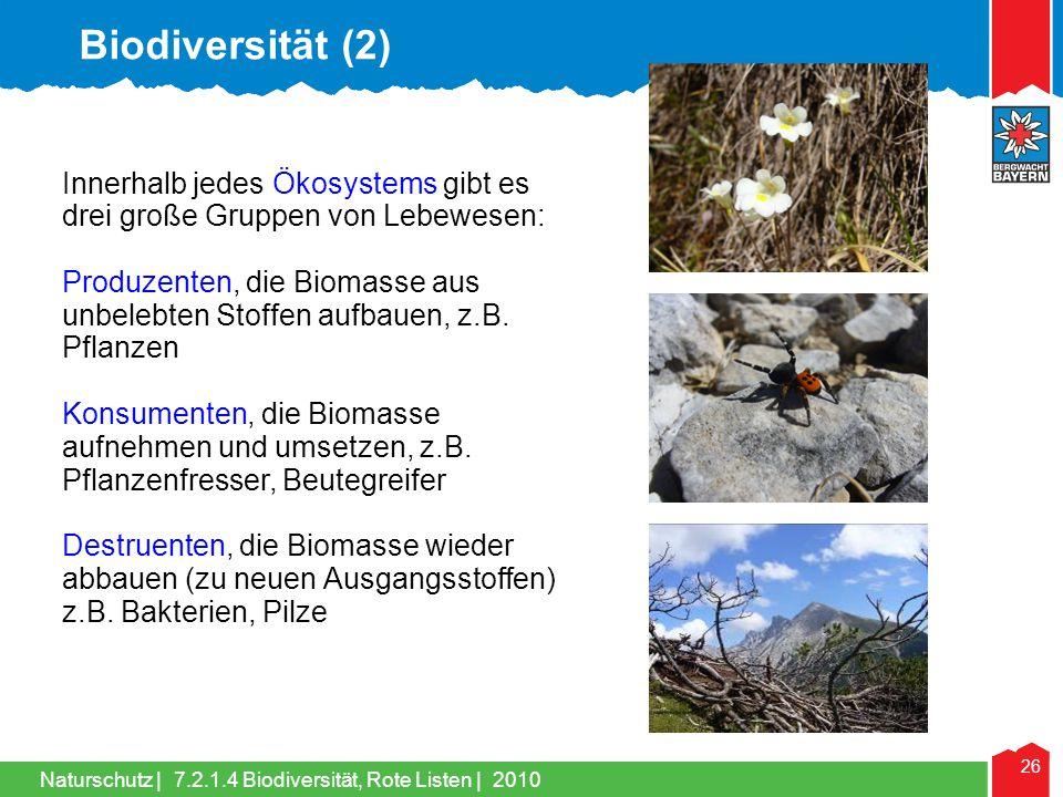 Biodiversität (2) Innerhalb jedes Ökosystems gibt es drei große Gruppen von Lebewesen: