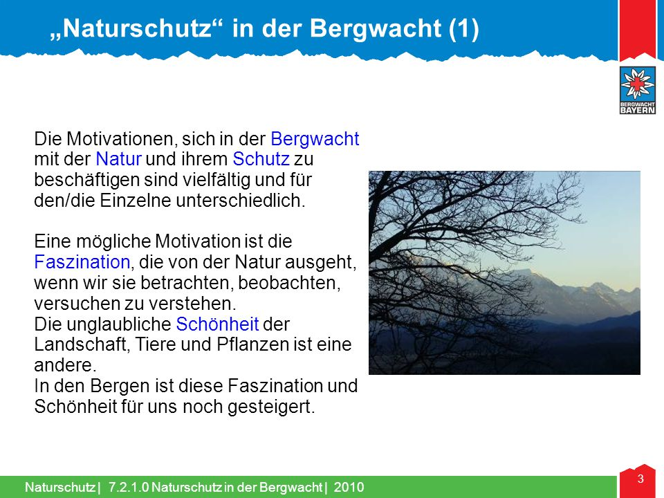 """Naturschutz in der Bergwacht (1)"