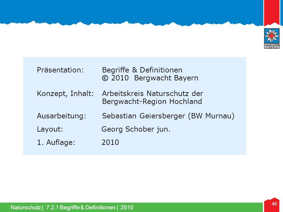 Präsentation: Begriffe & Definitionen © 2010 Bergwacht Bayern
