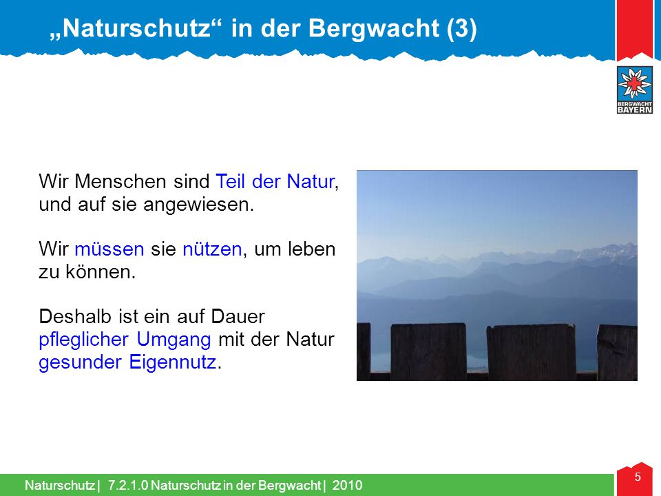 """Naturschutz in der Bergwacht (3)"
