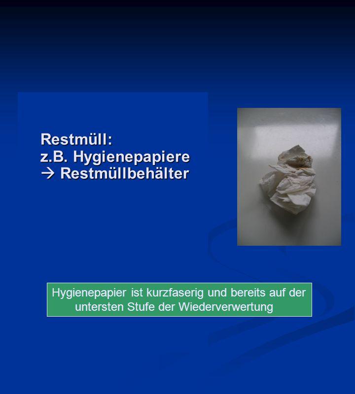 Restmüll: z.B. Hygienepapiere  Restmüllbehälter