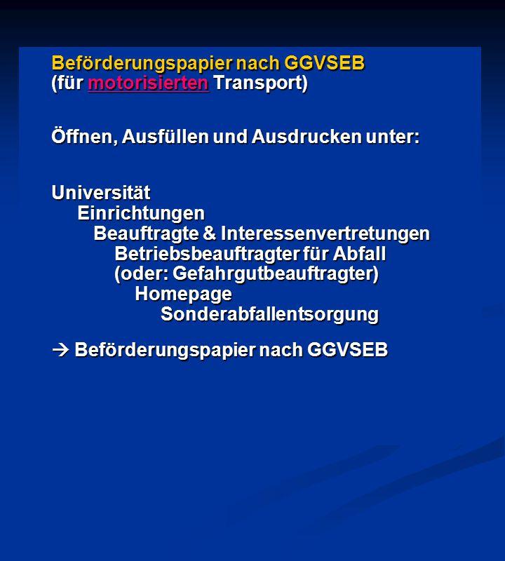 Beförderungspapier nach GGVSEB