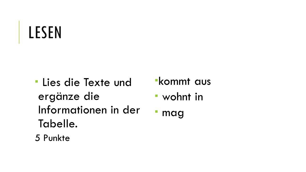 Lesen Lies die Texte und ergänze die Informationen in der Tabelle.