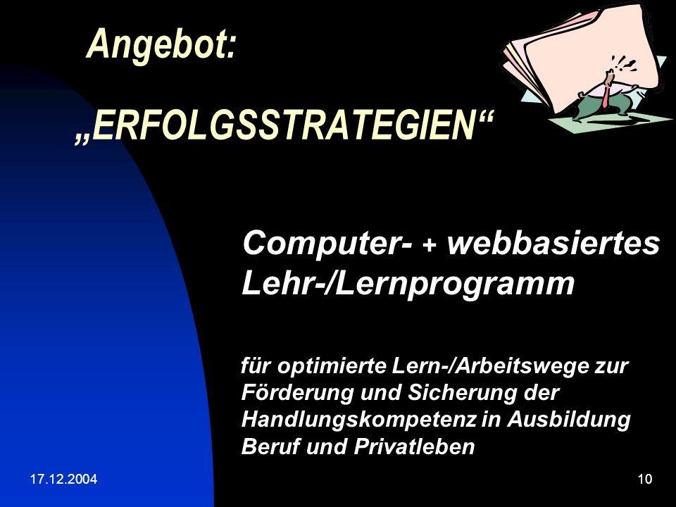 "Angebot: ""ERFOLGSSTRATEGIEN"