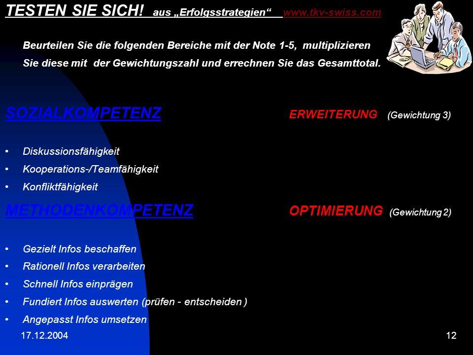 """TESTEN SIE SICH! aus """"Erfolgsstrategien www.tkv-swiss.com"""