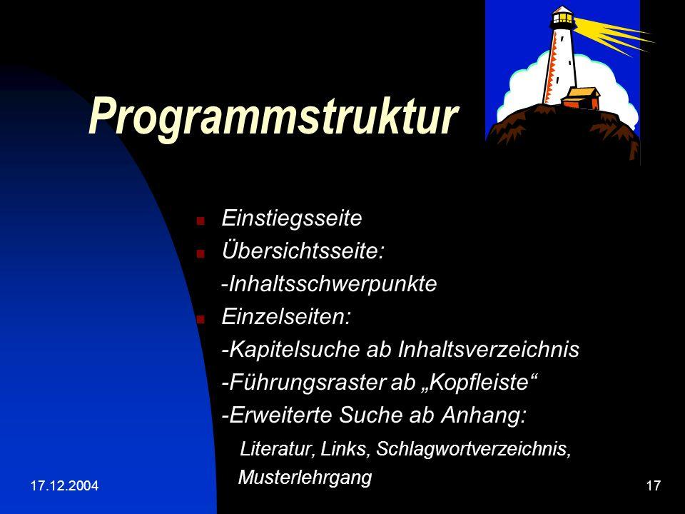 Programmstruktur Einstiegsseite Übersichtsseite: -Inhaltsschwerpunkte