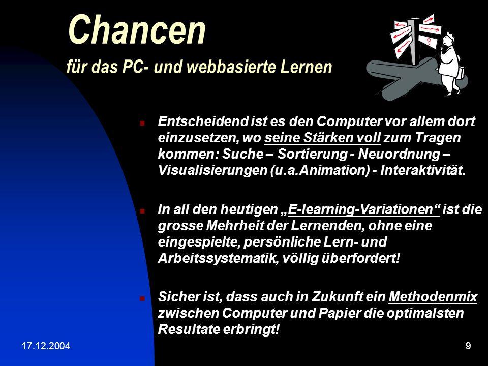 Chancen für das PC- und webbasierte Lernen