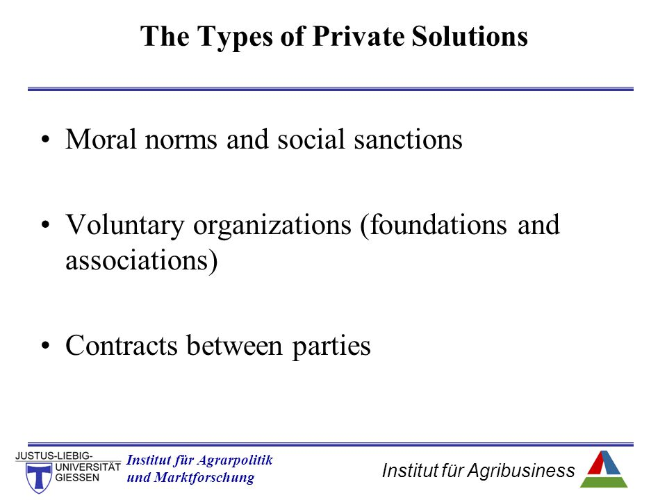 The Types of Private Solutions