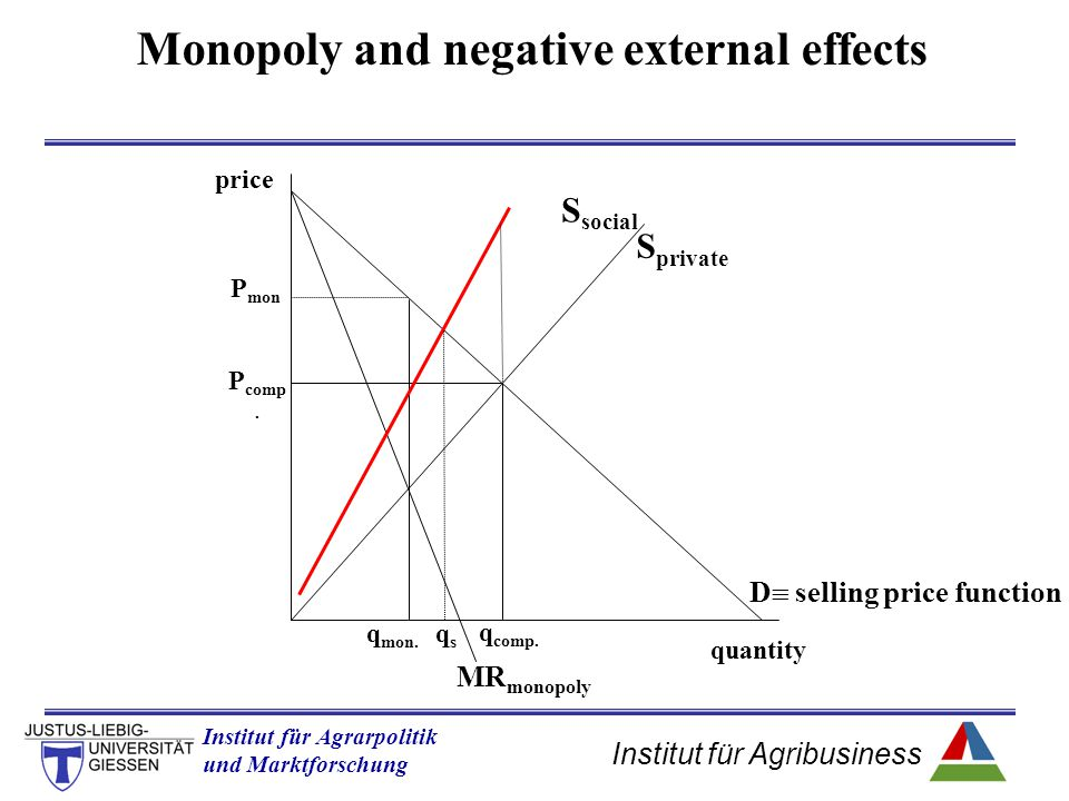 Monopoly and negative external effects D selling price function