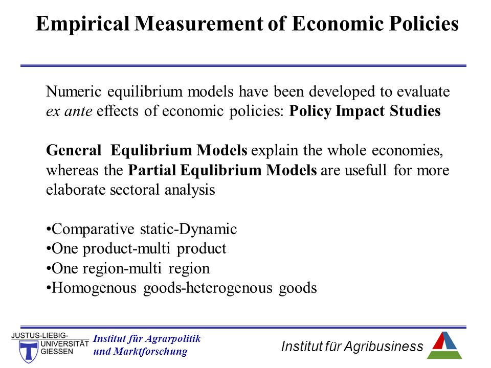 Empirical Measurement of Economic Policies