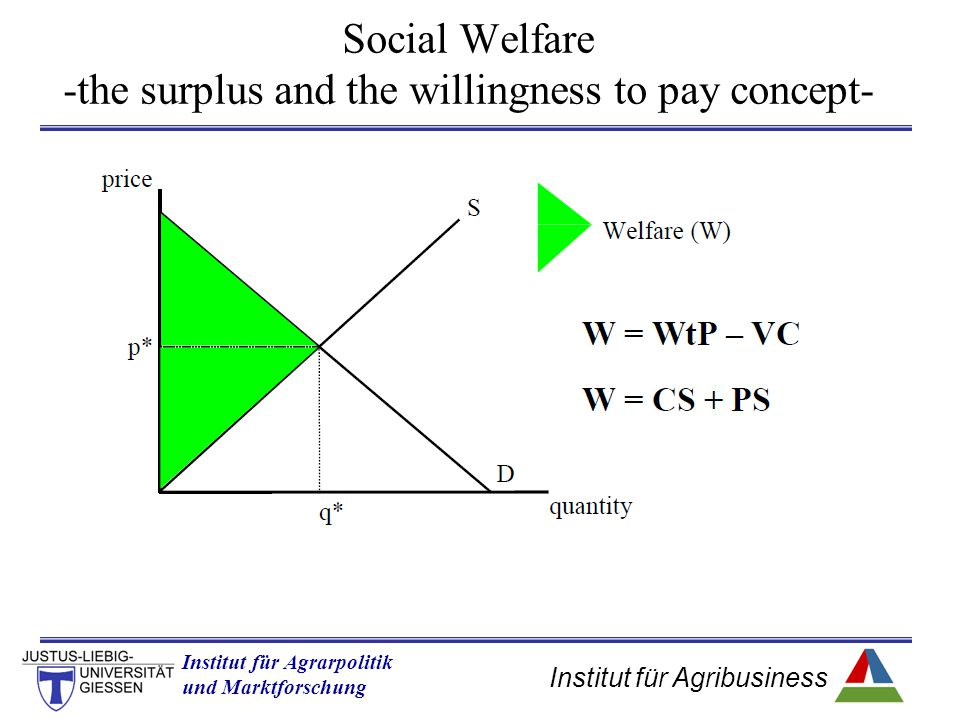 Social Welfare -the surplus and the willingness to pay concept-