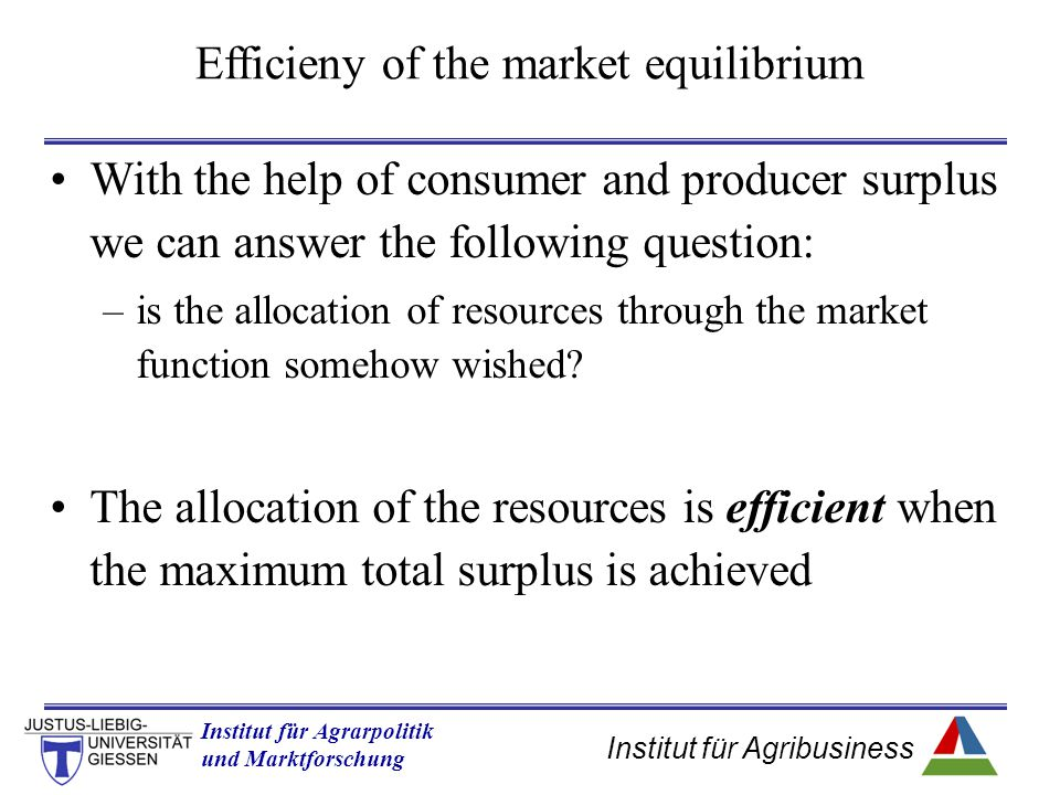 Efficieny of the market equilibrium