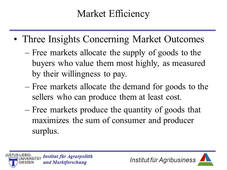 Three Insights Concerning Market Outcomes