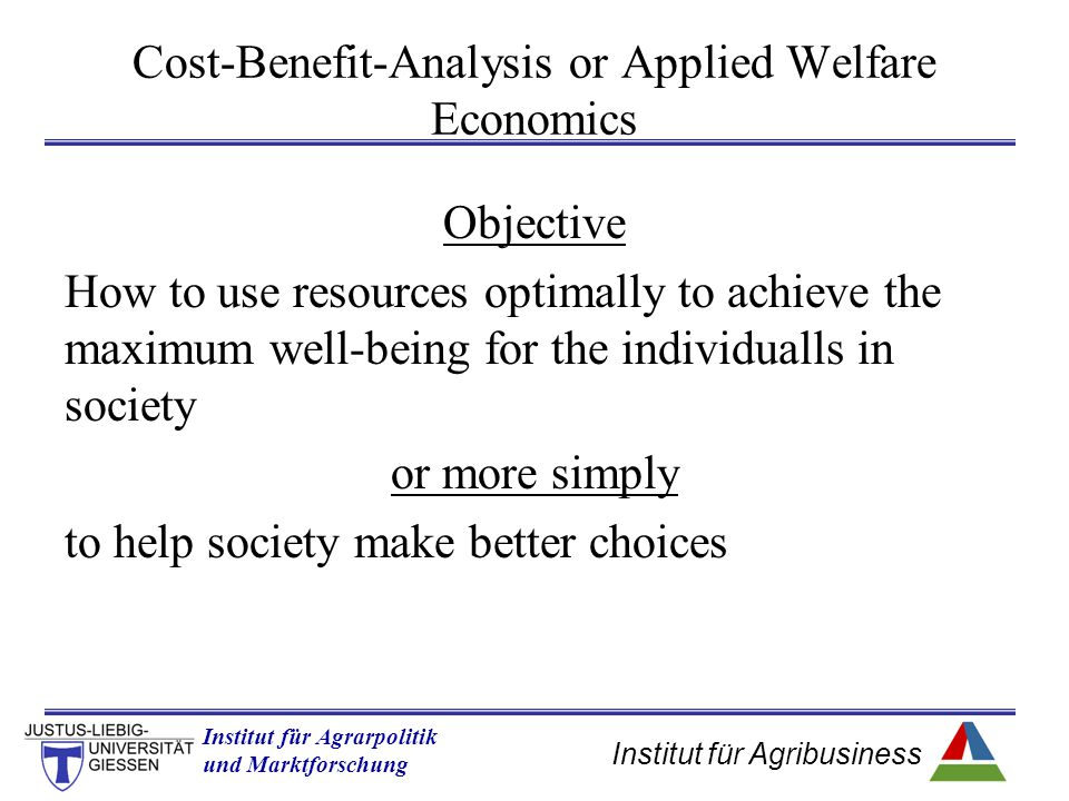 Cost-Benefit-Analysis or Applied Welfare Economics
