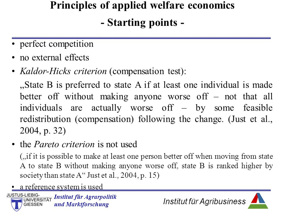 Principles of applied welfare economics