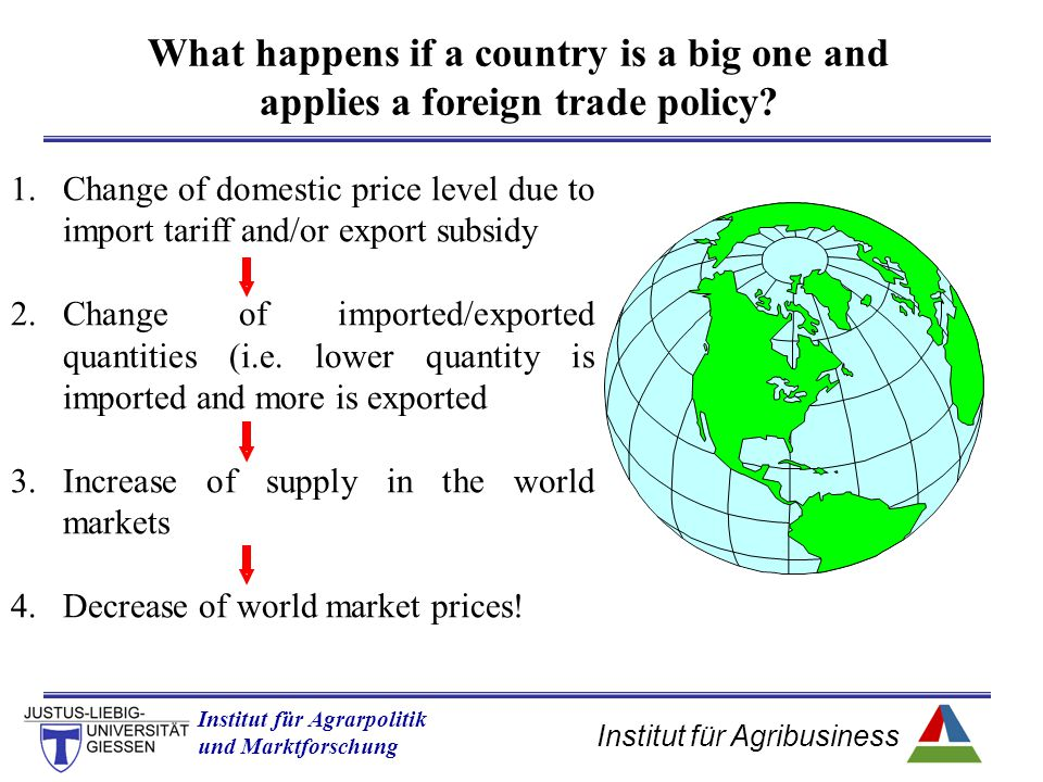 What happens if a country is a big one and applies a foreign trade policy