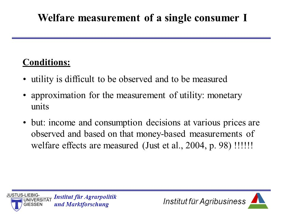 Welfare measurement of a single consumer I