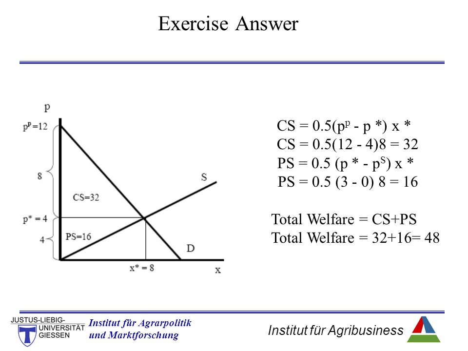 Exercise Answer CS = 0.5(pp - p *) x * CS = 0.5(12 - 4)8 = 32